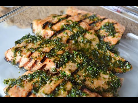 Garlic Grilled Salmon with parsley butter