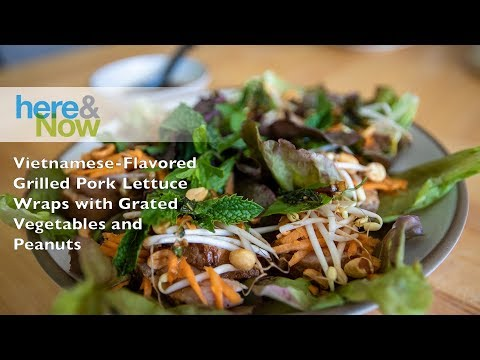 Vietnamese-Flavored Grilled Pork Lettuce Wraps with Grated Vegetables and Peanuts